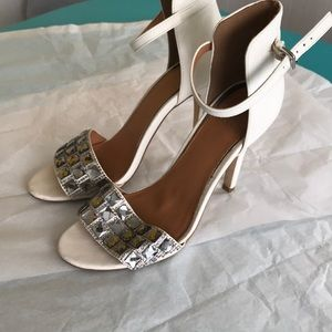White rhinestone high heels size 6.5
